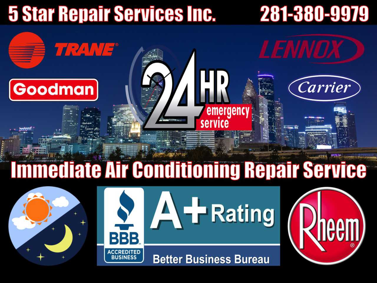 24 Hour Emergency Air Conditioning AC HVAC Furnace Condition Repair Service Atascocita 77396 77346 77338 77044 Central Cooling Unit System Duct Cleaning Maintenance
